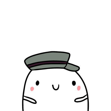 Peaked cap hand drawn illustration with cute marshmallow cartoon minimalism
