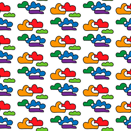 Colorful rainbow contour clouds hand drawn seamless pattern cartoon minimalism  イラスト・ベクター素材