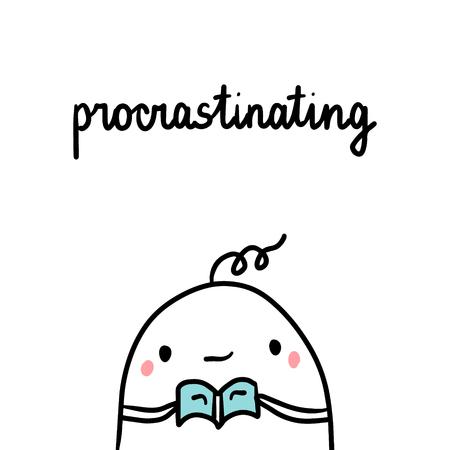 Procrastinating bad habit hand drawn illustration with cute marshmallow cartoon minimalism Ilustração