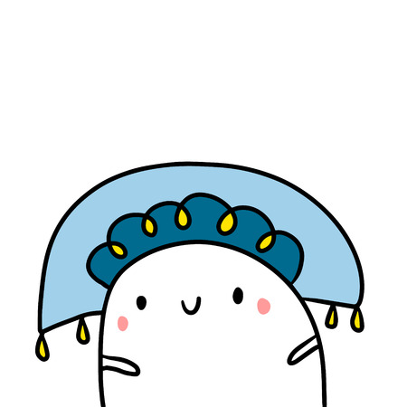 Traditional hat hand drawn illustration with cute marshmallow cartoon minimalism