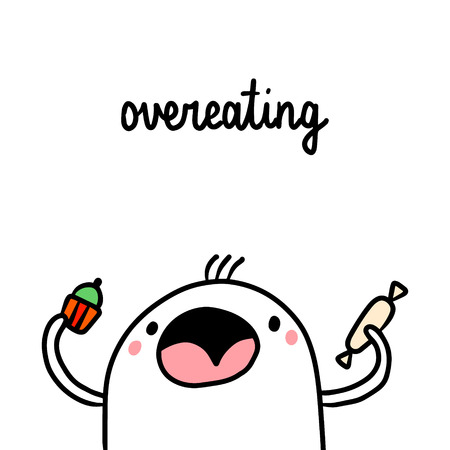 Overeating junk food bad habit hand drawn illustration with cute marshmallow cartoon minimalism Illustration