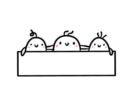 Three cute marshmallows and frame hand drawn illustration cartoon minimalism Çizim