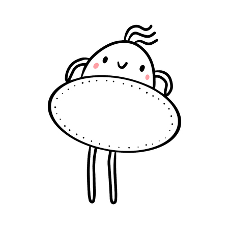 Cute marshmallow holding oval frame hand drawn illustration cartoon minimalism