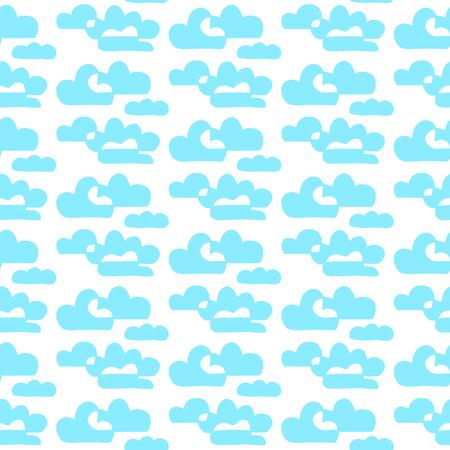 Blue and white hand drawn contour clouds hand drawn seamless pattern cartoon minimalism Ilustração