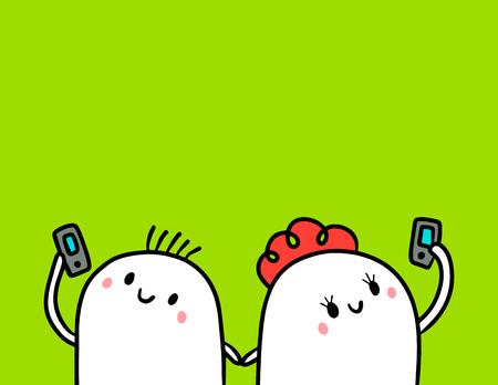Cute marshmallow couple and smartphone hand drawn illustration cartoon minimalism on green font Illustration