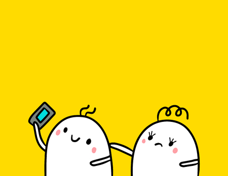 Cute marshmallow couple and smartphone hand drawn illustration cartoon minimalism on orange font