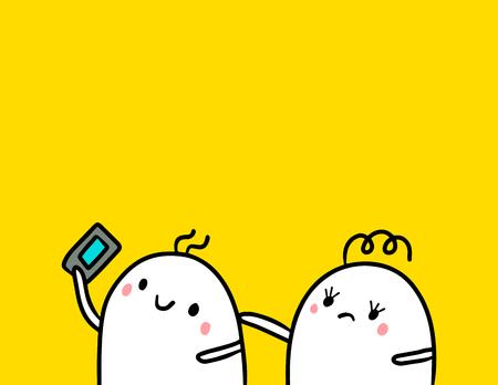 Cute marshmallow couple and smartphone hand drawn illustration cartoon minimalism on orange font