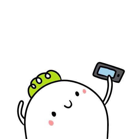 Cute marshmallow and smartphone hand drawn illustration cartoon minimalism Stock Photo