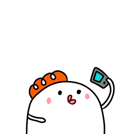Cute marshmallow and smartphone hand drawn illustration cartoon minimalism making selfie