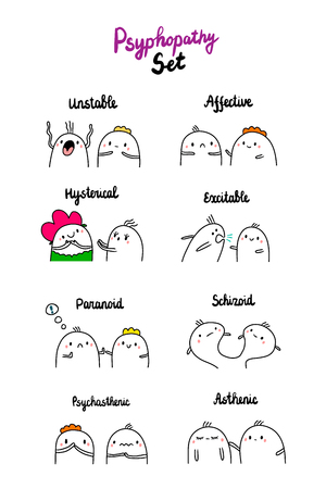 Psychopathy set hand drawn illustration with cute marshmallows cartoon minimalism Ilustração