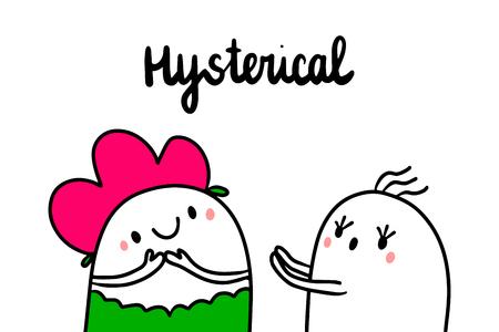 Hysterical psychopathy hand drawn illustration with cute marshmallows cartoon minimalism