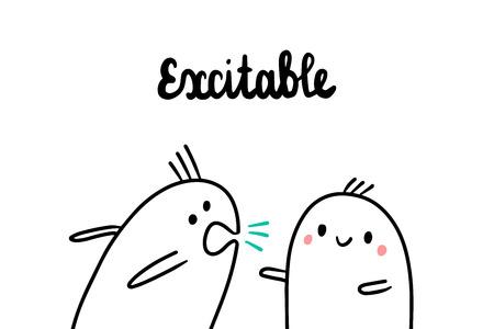 Excitable psychopathy hand drawn illustration with cute marshmallow cartoon minimalism