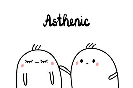 Asthenic psychopathy hand drawn illustration with cute marsmallows cartoon minimalism