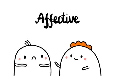 Affective psychopathy hand drawn illustration with cute marshmallows cartoon minimalism