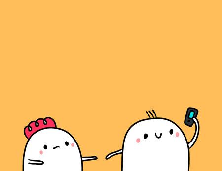 Cute marshmallow couple and smartphone hand drawn illustration cartoon minimalism Illustration
