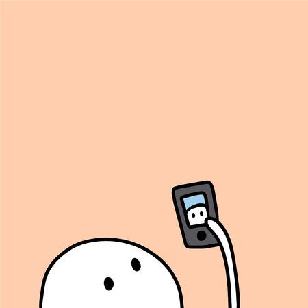 Cute marshmallow and smartphone hand drawn illustration cartoon minimalism selfie