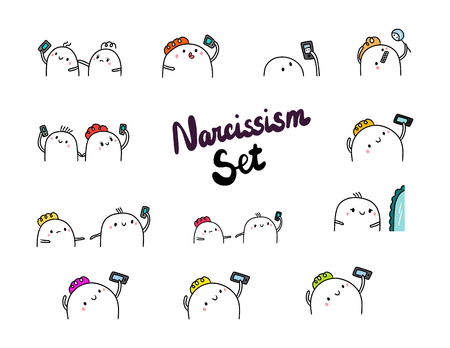 Narcissism set hand drawn illustrations cartoon minimalism smartphone and mirror marshmallow Banco de Imagens - 124726110