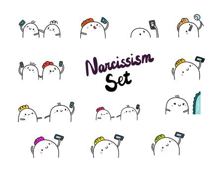 Narcissism set hand drawn illustrations cartoon minimalism smartphone and mirror marshmallow