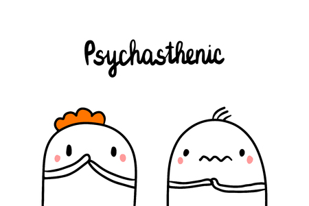 Psychasthenic psychopathy hand drawn illustration with cute marshmallows cartoon minimalism Ilustrace