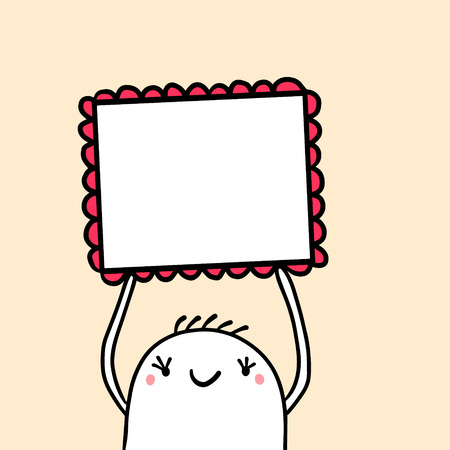 CUte marshmallow holding square frame with decorative elements hand drawn illustration cartoon minimalism