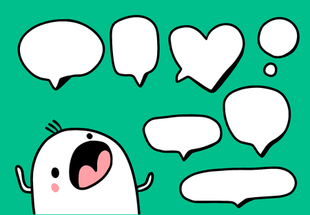 Set of speech bubbles with cute marshmallow hand drawn illustration cartoon minimalism Ilustracja
