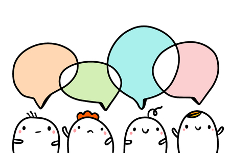 Company of four cute marshmallows talking hand drawn illustraton with speech bubbles cartoon minimalism Ilustracja