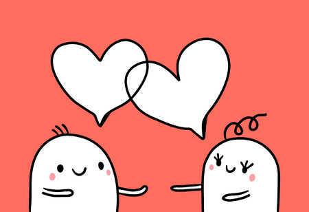 Couple of two marshmallows with cute hearts speech bubbles hand drawn illustration cartoon minimalism
