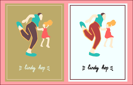Lindy hop set of two illustration hand drawn in cartoon style minimalism Stockfoto - 124539288