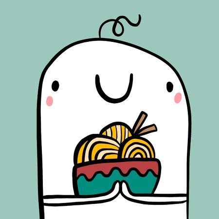 Cute marshmallow holding bowl with ramen soup hand drawn illustration minimalism cartoon
