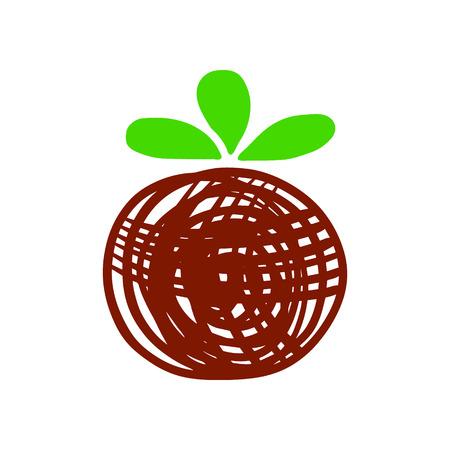 Kokedama hand drawn logotype minimalism style green and brown illustration