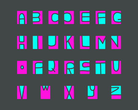 Cut-out alphabet, printmaking lino-cut vector elements on background colorful cartoon minimalism