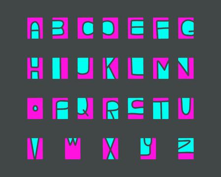 Wycinany alfabet, elementy grafiki wycinane z linoletu na tle kolorowego minimalizmu kreskówek