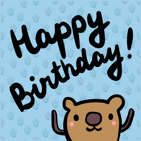 Happy birthday hand drawn illustration for kids in cartoon style minimalism for prints posters cards and stickers