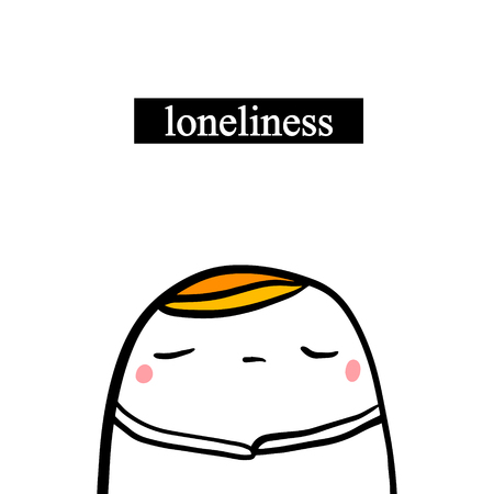 Loneliness hand drawn illustration with cute marshmallow in cartoon style