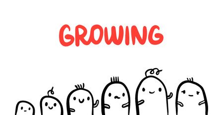 Growing hand drawn process with cute marshmallow illustration in cartoon minimalism