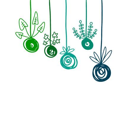 Kokedama hand drawn illustration in cartoon style green color