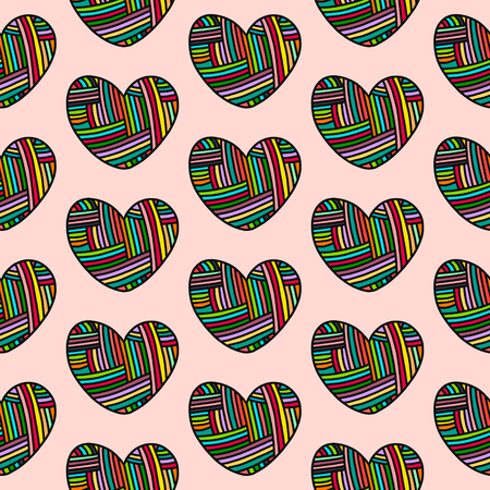 Knit wool heart hand drawn seamless pattern in cartoon style