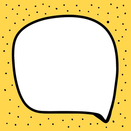 Hand drawn speech bubble illustration in cartoon style minimalism yellow black and white Illustration