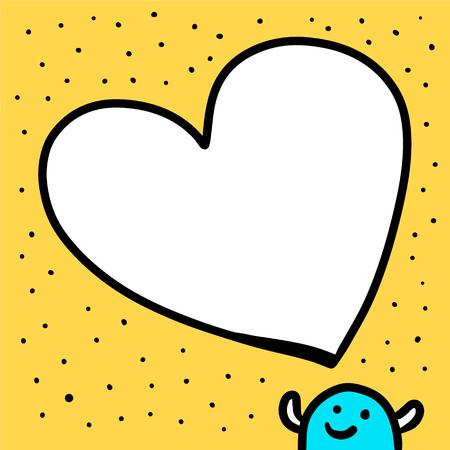 Happy hand drawn blue creature and speech bubble heart form cartoon minimalism