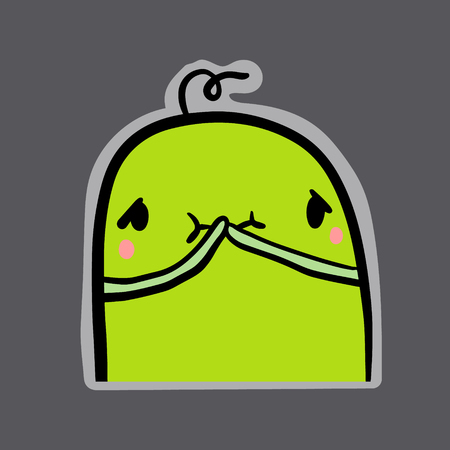 Feeling sick hand drawn sticker with green monster in cartoon style minimalism