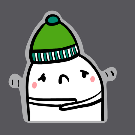 Feeling cold hand drawn sticker illustration with cute marshmallow in green hat Çizim