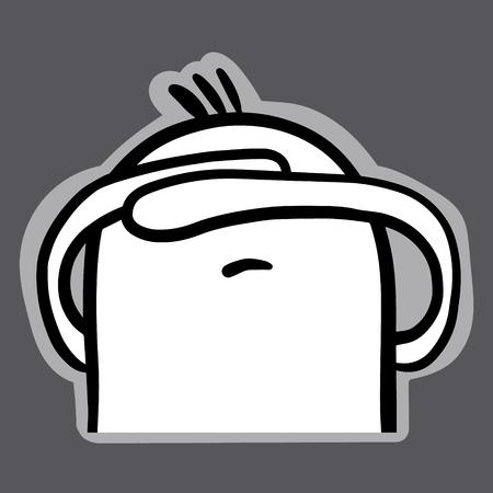 Cute marshmallow facepalm hand drawn sticker in cartoon style minimalism emoji Illustration