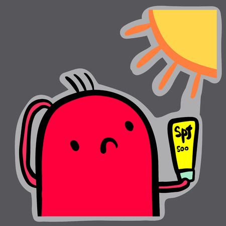 Sun burnt hand drawn sticker with cute marshmallow illustration cartoon minimalism