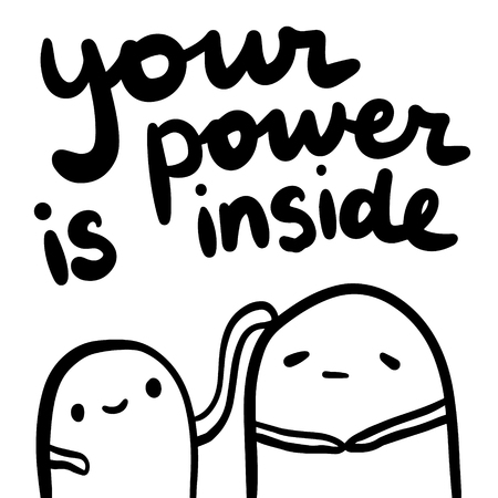 Your power is inside hand drawn lettering and cute monsters illustration Vektorové ilustrace