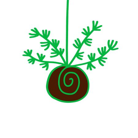 Green plant succulent kokedama hand drawn illustration