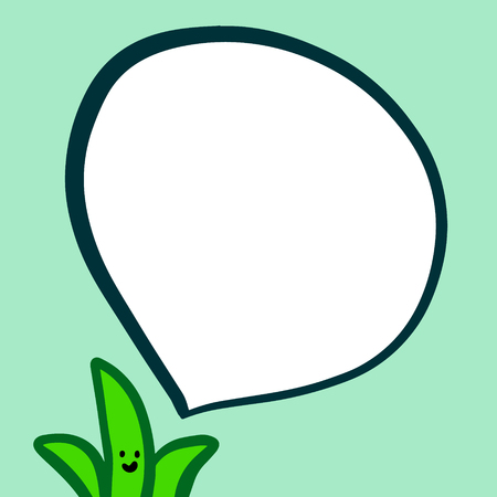 Happy aloe and speech bubble hand drawn illustration in green colors cartoon minimalism