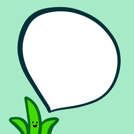 Happy aloe and speech bubble hand drawn illustration in green colors cartoon minimalism