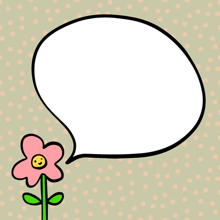 Smiling flower cute face style hand drawn illustration with speech bubble minimalism