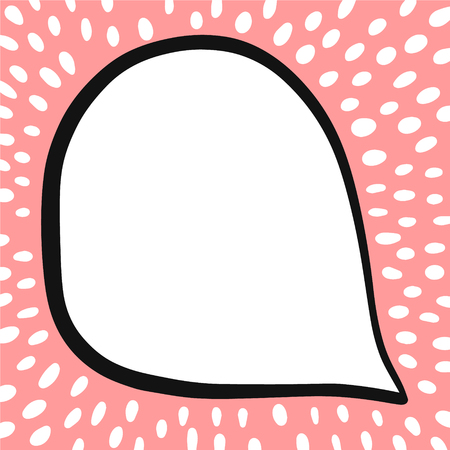 Speech bubble on pink and white font hand drawn illustration in cartoon style minimalism