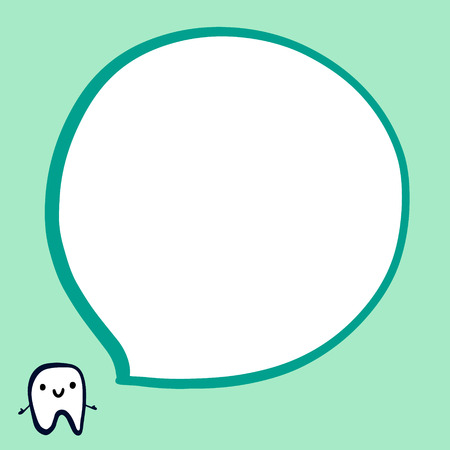 Smiling tooth talking and speech bubble hand drawn illustration cartoon style